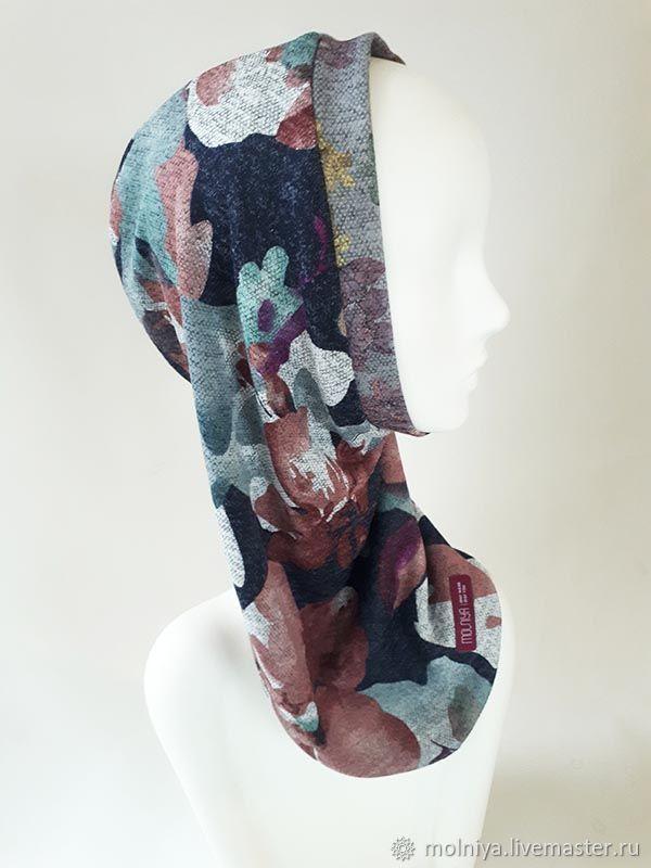 Капор женский двухсторонний серый с цветами! Прованс, Капоры, Москва,  Фото №1
