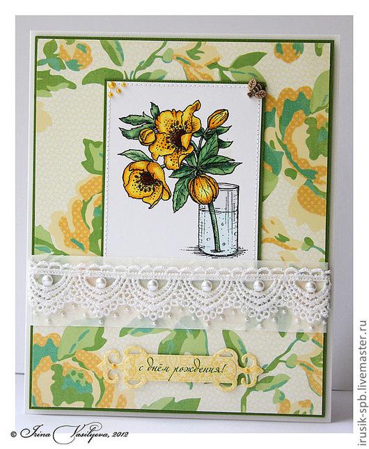 Открытки на день рождения ручной работы. Ярмарка Мастеров - ручная работа. Купить открытка с веточкой желтой розы к дню рождения. Handmade.