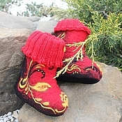 """Обувь ручной работы. Ярмарка Мастеров - ручная работа Валенки детские """"Хохлома праздничная"""". Handmade."""