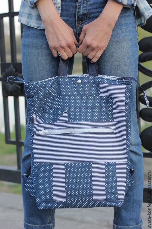Легкий, сшитый из хлопка, текстильный рюкзачок-сумка