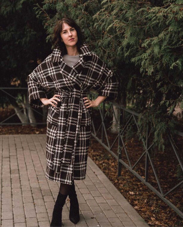 Стильное пальто в клетку, Пальто, Балабаново,  Фото №1