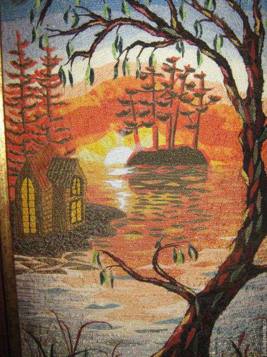"""Пейзаж ручной работы. Ярмарка Мастеров - ручная работа. Купить Квилт """"Цветные сны"""". Handmade. Ярко-красный, море, солнце"""