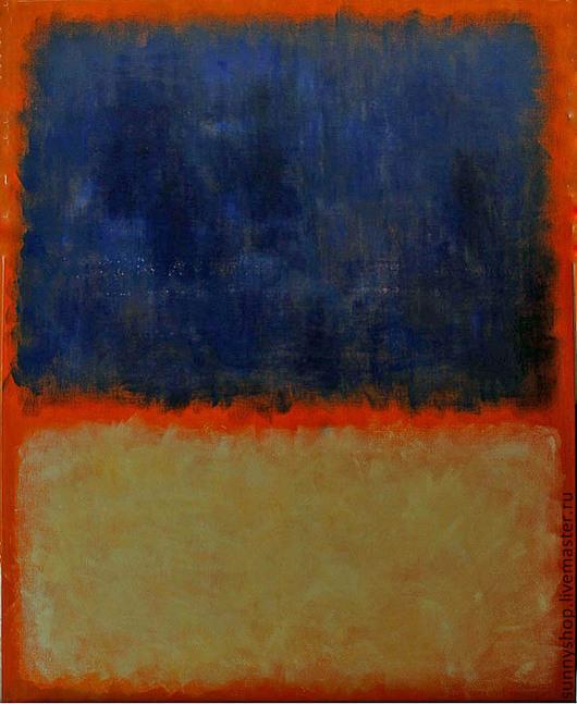 картина масло абстракция абстракционизм синий джинс белый оранжевый цветовые пятна интерьерная живопись на заказ