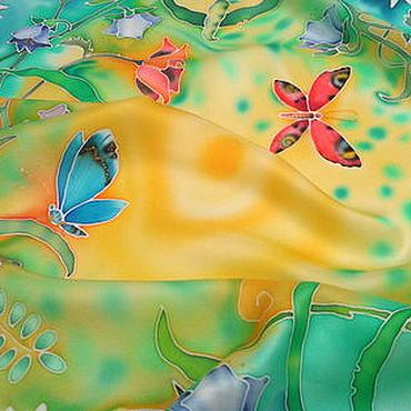 """Аксессуары ручной работы. Ярмарка Мастеров - ручная работа Шелковый платок """"УТРО."""" Батик. Handmade."""