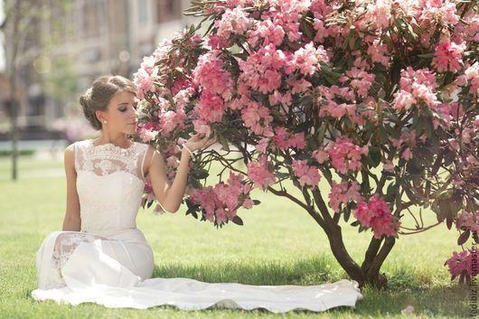Одежда и аксессуары ручной работы. Ярмарка Мастеров - ручная работа. Купить Свадебное платье L-7. Handmade. Белый, свадьба
