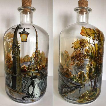 Посуда ручной работы. Ярмарка Мастеров - ручная работа Стеклянная бутылка Петербург. Handmade.