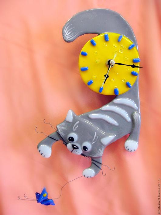Часы для дома ручной работы. Ярмарка Мастеров - ручная работа. Купить Фьюзинг,  Часы «Солнечный котик». Handmade. Часы