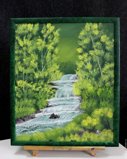 """Пейзаж ручной работы. Ярмарка Мастеров - ручная работа. Купить Картина маслом """"Водопад"""". Handmade. Зеленый, водопад, богатство, масло"""