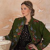 Одежда ручной работы. Ярмарка Мастеров - ручная работа куртка из павловопосадского палатка зеленая. Handmade.