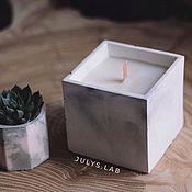 Свечи ручной работы. Ярмарка Мастеров - ручная работа Соевая свеча с древесным фителем в бетоне Куб. Handmade.