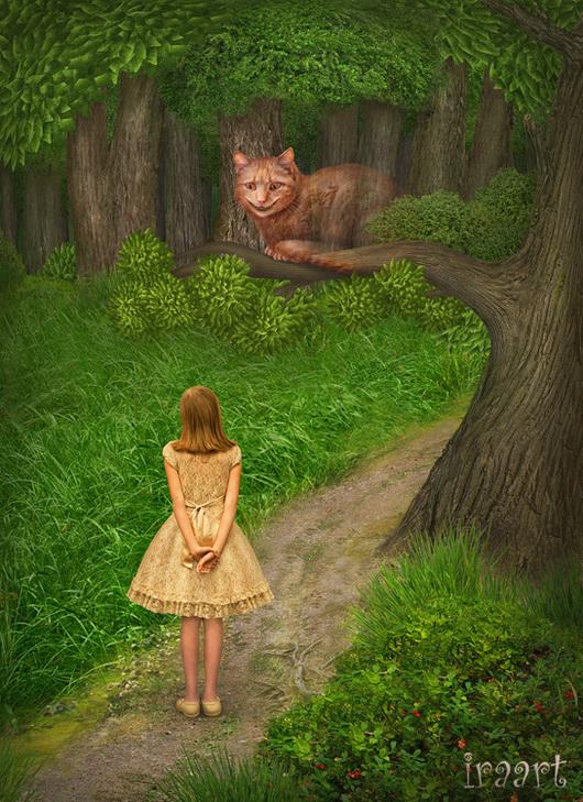 """Фотокартины ручной работы. Ярмарка Мастеров - ручная работа. Купить Фотосказка """"Алиса в стране чудес. Чеширский кот"""". Handmade. Зеленый"""