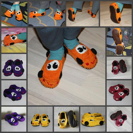Обувь ручной работы. Ярмарка Мастеров - ручная работа. Купить Тапочки тачки. Handmade. Комбинированный, подарок ребенку, тапки-тачки