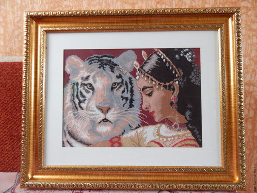 """Люди, ручной работы. Ярмарка Мастеров - ручная работа. Купить Вышитая картина """"Индийская сказка"""". Handmade. Белый цвет, для девушки"""