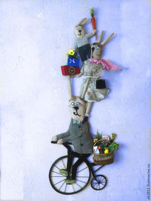 """Детская ручной работы. Ярмарка Мастеров - ручная работа. Купить Панно """"Семейство Зайцевых"""". Handmade. Винтажный стиль, панно на стену"""