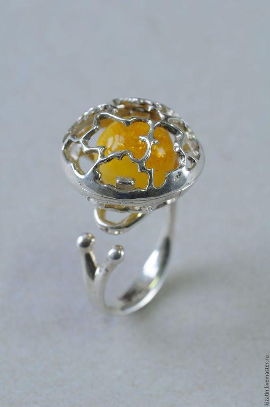 Кольца ручной работы. Ярмарка Мастеров - ручная работа. Купить кольцо шкатулка  2 0021 янтарь. Handmade. Янтарь, шар