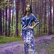 Одежда ручной работы. Ярмарка Мастеров - ручная работа Длинная юбка из шелка Verona , легкая вечерняя юбка с цветами. Handmade.