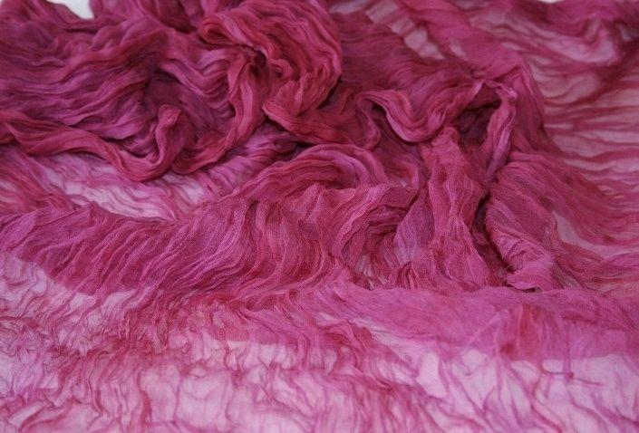 Scarf silk chiffon raspberry hand dyeing gift, Scarves, Tver,  Фото №1