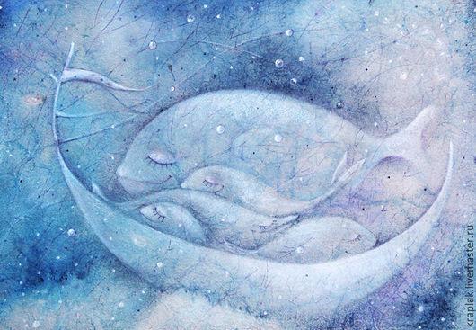 Фантазийные сюжеты ручной работы. Ярмарка Мастеров - ручная работа. Купить Плывет луна по небу белой лодочкой...Картина-принт на холсте.. Handmade.