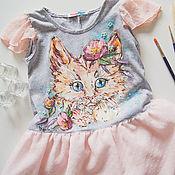 Работы для детей, handmade. Livemaster - original item baby dress kitty. Handmade.