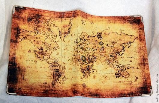 """Обложки ручной работы. Ярмарка Мастеров - ручная работа. Купить обложка """"Карта мира"""". Handmade. Кожа натуральная, обложка на автодокументы"""