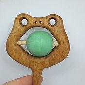 Куклы и игрушки handmade. Livemaster - original item Wooden toy rattle Frog. Handmade.