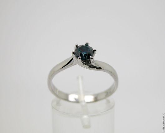 Кольца ручной работы. Ярмарка Мастеров - ручная работа. Купить Кольцо с синим бриллиантом 0.52 карата.. Handmade.