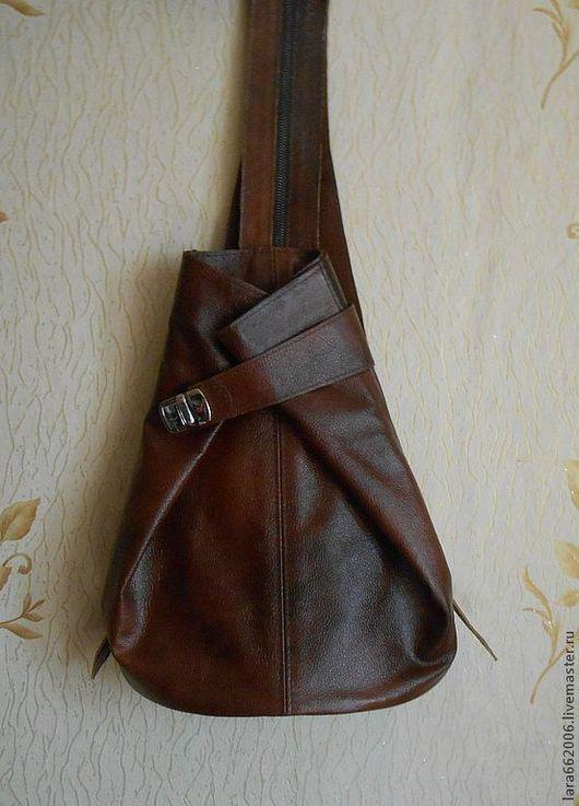 Женская сумка рюкзак  из натуральной кожи  рыже-коричневого цвета,  Lara&Ko