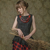 """Одежда ручной работы. Ярмарка Мастеров - ручная работа Топ """"Прошлогодние травы"""" войлок, топ с баской. Handmade."""
