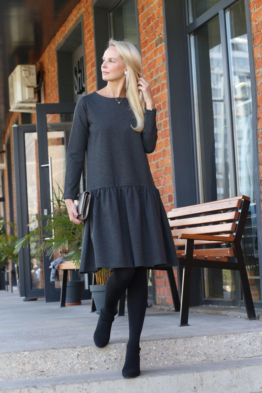 Grey crystal Jersey ruffle dress, Dresses, Moscow,  Фото №1