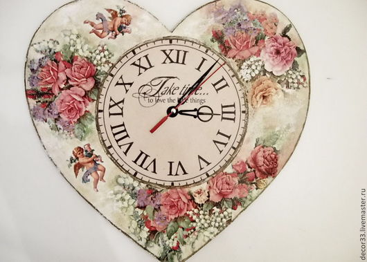 Часы для дома ручной работы. Ярмарка Мастеров - ручная работа. Купить Часы настенные Ангелы с вами. Handmade. Часы, розы