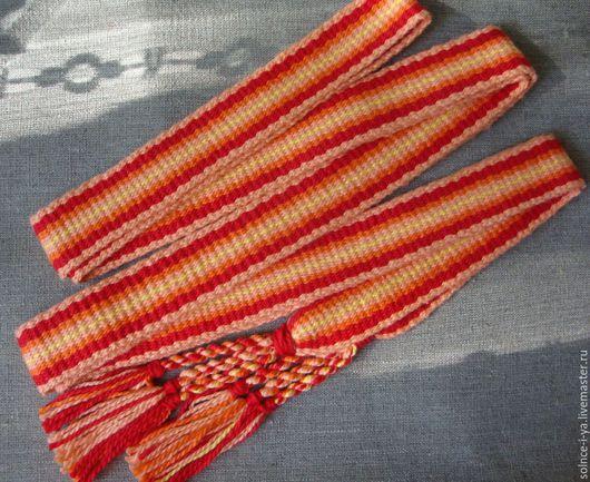Ткачество ручной работы. Ярмарка Мастеров - ручная работа. Купить Пояс тканный, заправочная техника. Handmade. Пояс, Ткачество