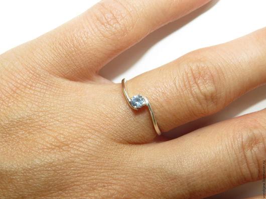 Кольца ручной работы. Ярмарка Мастеров - ручная работа. Купить Кольцо серебро 925 голубой нано-сапфир 3,0мм. Handmade.