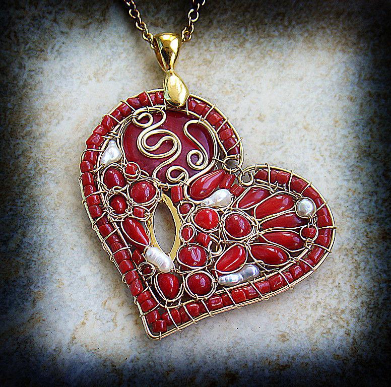'Poppy heart' pendant on a chain, Pendants, Netanya,  Фото №1