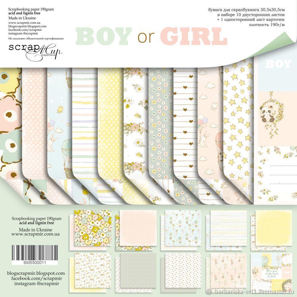 Набор бумаги для скрапбукинга Boy or Girl от Scrapmir, Бумага, Смоленск,  Фото №1