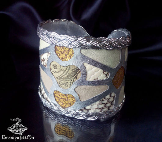 Браслеты ручной работы. Ярмарка Мастеров - ручная работа. Купить Браслет-мозаика из натуральной кожи. Handmade. Браслет, серебряный