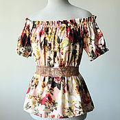 Одежда ручной работы. Ярмарка Мастеров - ручная работа Цветочный хлопковый топ Летняя блузка с открытыми плечами. Handmade.