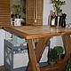 Кухонный стол из массива с керамической плиткой, ручная работа.