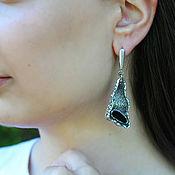 Украшения handmade. Livemaster - original item 925 sterling silver earrings with black onyx. Handmade.
