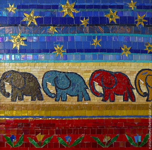 Мозаика `Цветные слоны`. Наталья Шестакова - дизайнер, декоратор.
