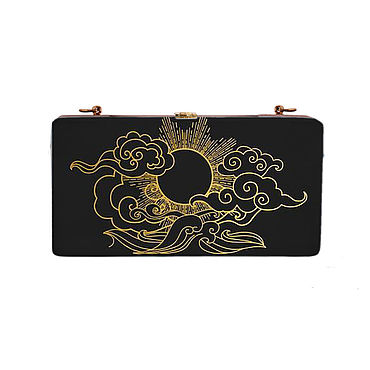 Bags and accessories handmade. Livemaster - original item Women`s clutch bag in black wood with painting (evening). Handmade.