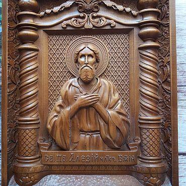 Картины и панно. Ярмарка Мастеров - ручная работа Икона резная Святой Алексий человек Божий. Handmade.