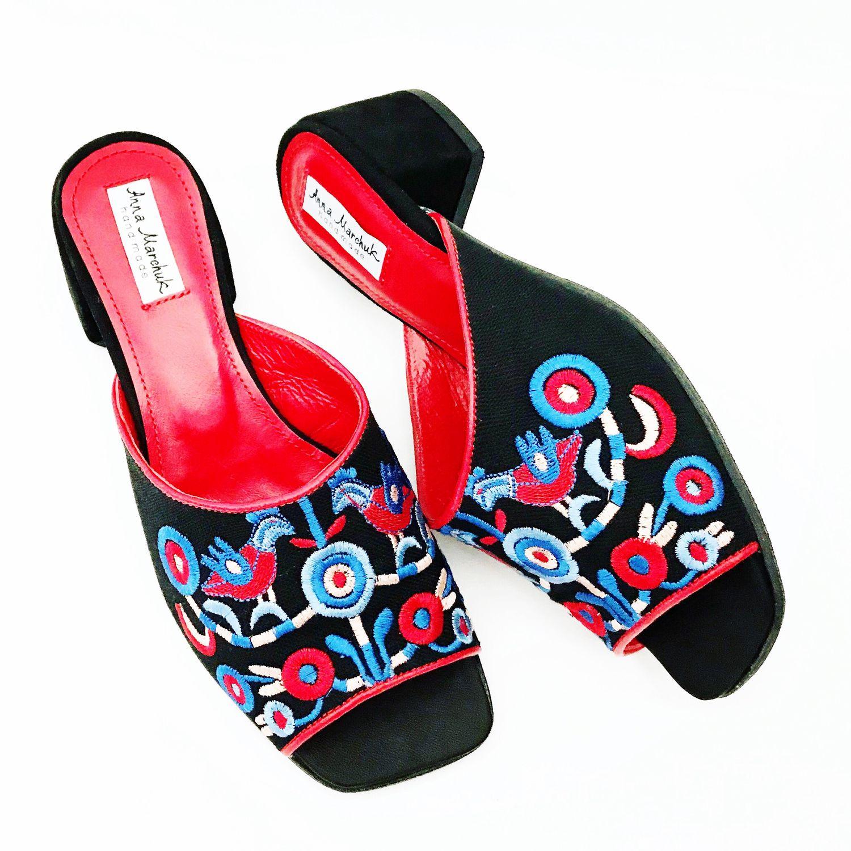 """Обувь ручной работы. Ярмарка Мастеров - ручная работа. Купить Мюли """"Этно». Handmade. Цветы, босоножки, летняя обувь"""
