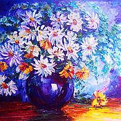 Картины и панно handmade. Livemaster - original item Oil painting of chamomile in a vase