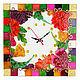 """Часы для дома ручной работы. Ярмарка Мастеров - ручная работа. Купить Часы """"Цветочно-клеточное"""". Handmade. Настенные часы, подарок"""