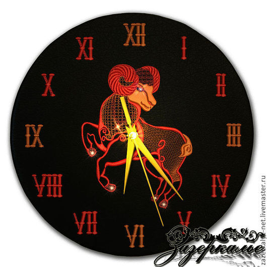 """Часы для дома ручной работы. Ярмарка Мастеров - ручная работа. Купить Часы из натуральной кожи """"Овен"""". Handmade. Часы интерьерные"""