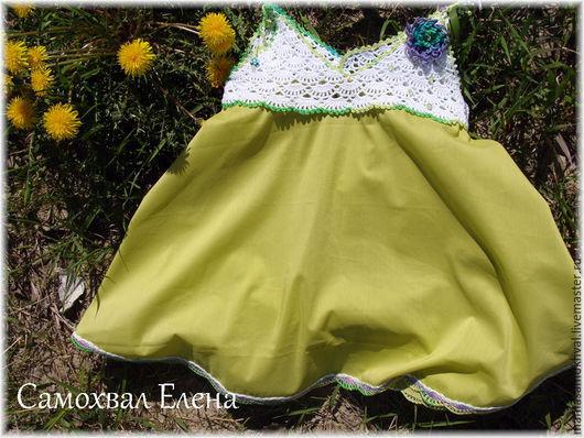 """Одежда для девочек, ручной работы. Ярмарка Мастеров - ручная работа. Купить Комбинированный сарафан """"Астра"""". Handmade. Разноцветный, комбинированное платье"""