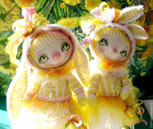 Коллекционные куклы ручной работы. Ярмарка Мастеров - ручная работа. Купить Солнечные зайчики в одуванчиках.. Handmade. Желтый, зайка, счастливый