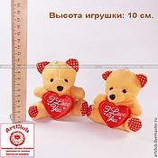 Брелок – мягкая игрушка для букетов мишка, коричневый, с сердечком