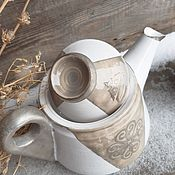 Посуда handmade. Livemaster - original item Silver. Kettle and 2 cups. Handmade.