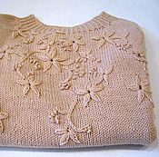 Одежда handmade. Livemaster - original item Cardigan Women`s seamless beige (100% wool) with embroidery. Handmade.